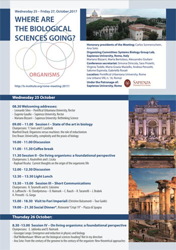 "Programma del congresso ""Where are the biological sciences going?"""
